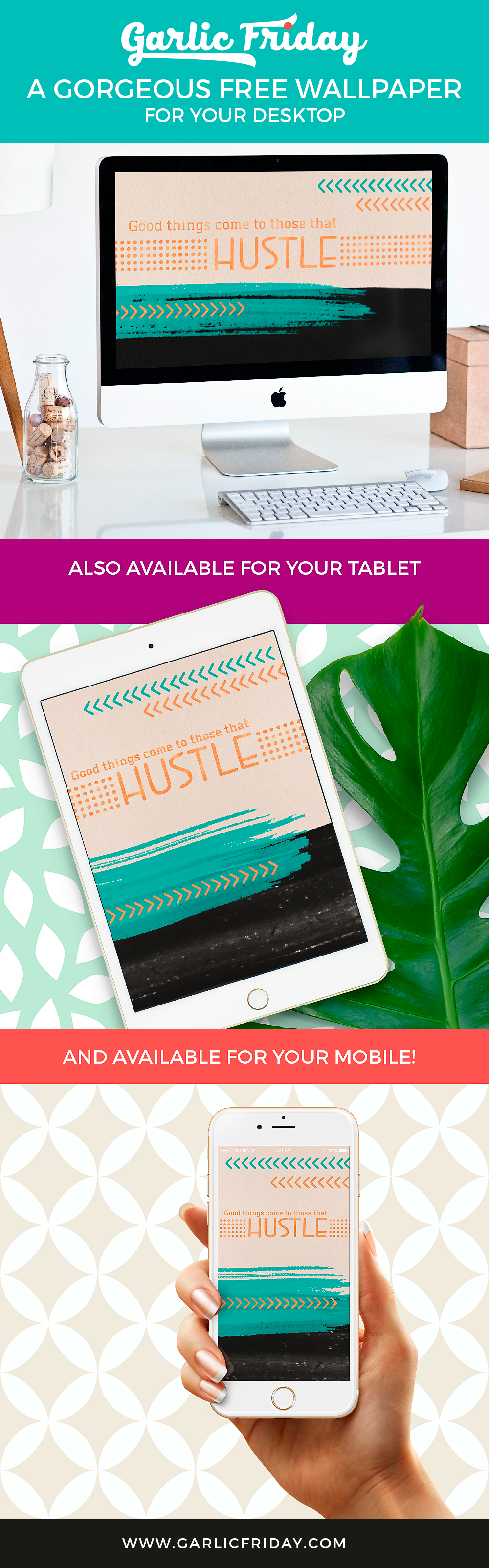 Download our gorgeous motivational wallpaper for your desktop, tablet and phone! March freebie from Garlic Friday Graphic Design #sheboss #bossgirl #hustle #free