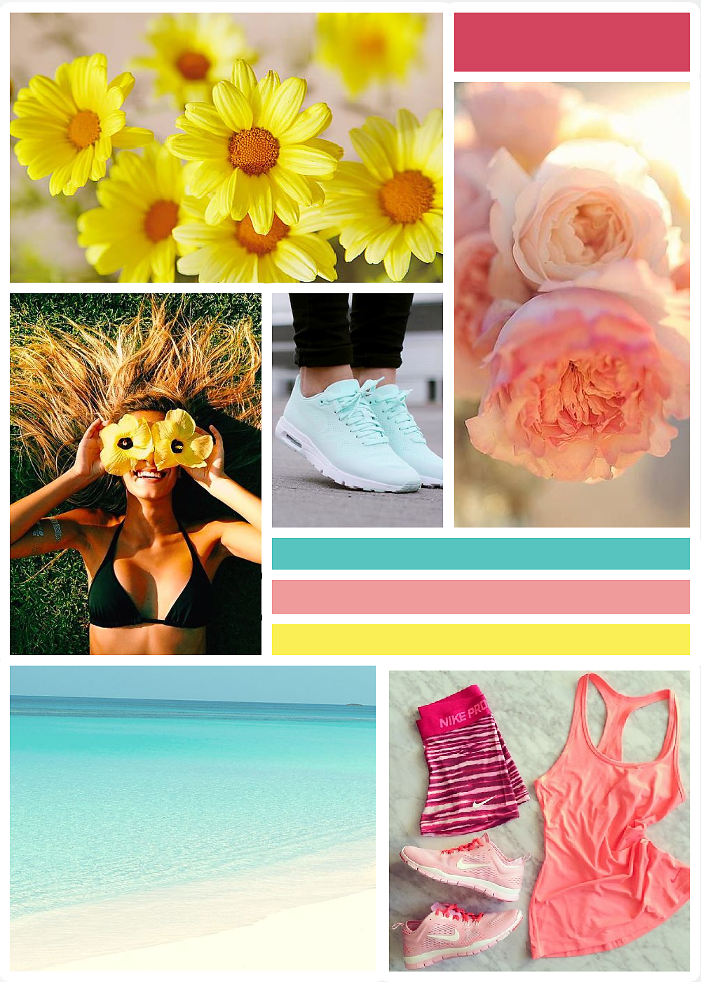 Image credits:  Daisies ,  Roses ,  Woman ,  Blue shoes ,  Beach ,  Pink sports