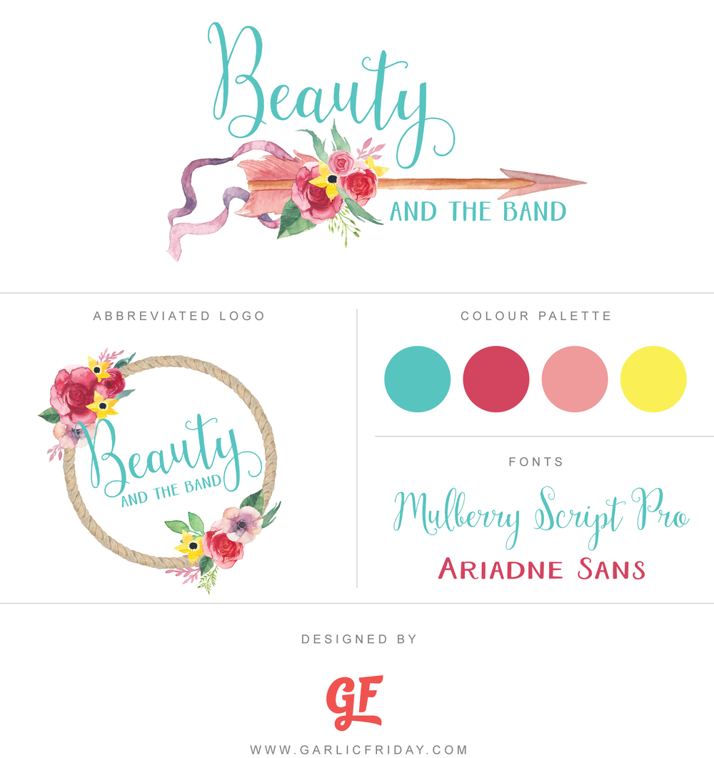 Brand Identity / Logo for weightloss blogger, Beauty & the Band by www.garlicfriday.com