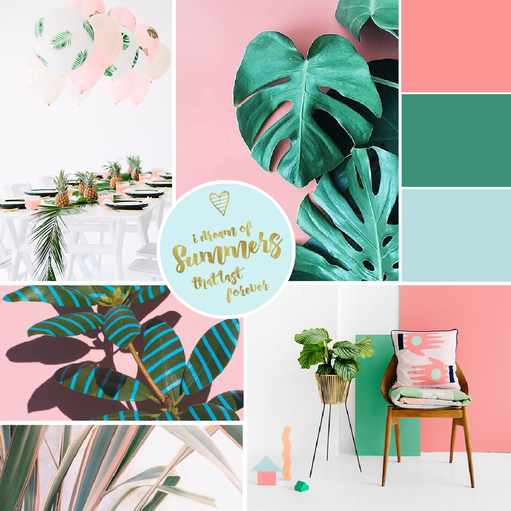 Pineapple Party:  www.lovemaegan.com  // Palm Fronds:  plantsonpink  via Instagram // Stripey Leaves:  Wonderplants by Sarah Illenberger  // Tropical Leaves:  The Silver Moon Wants  via tumblr.com //  Home Decor: www.veramoraes.com