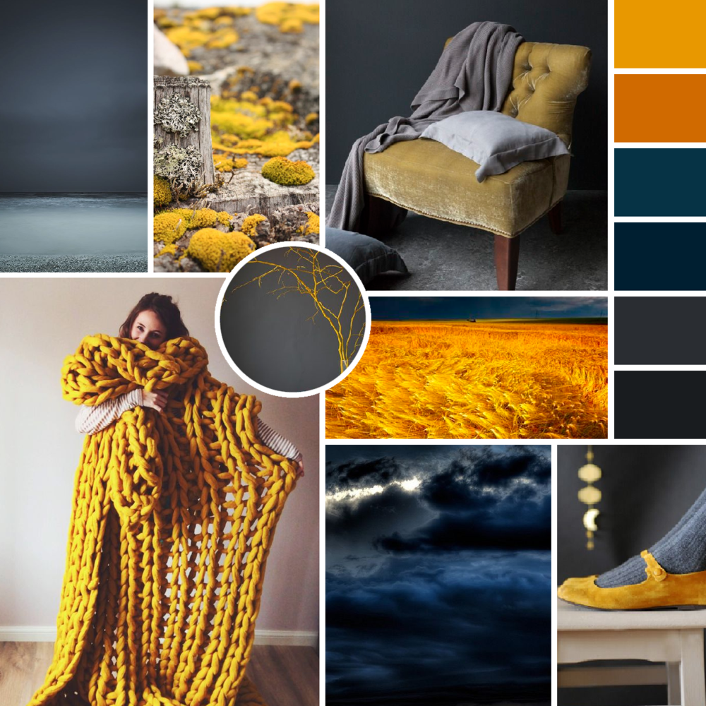 Mustard Teal and Grey - Dark and Stormy Moodboard by www.garlicfriday.com
