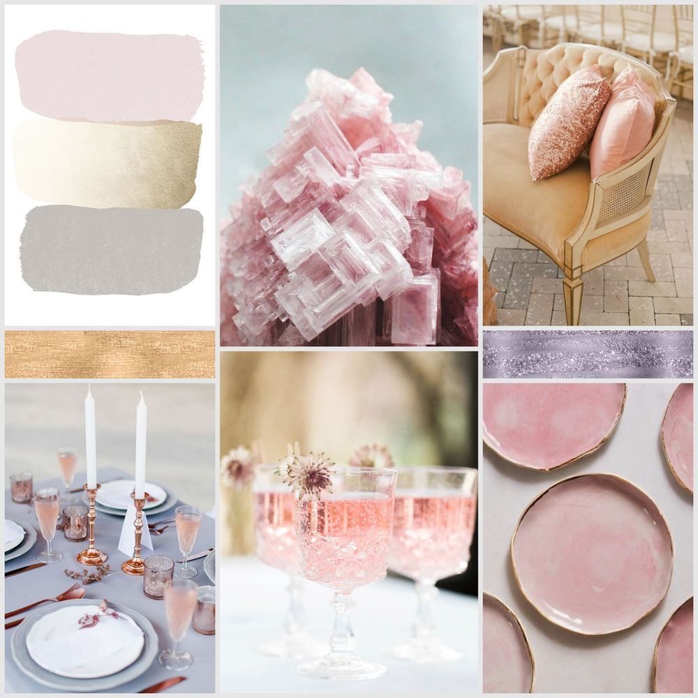 Moodboard Monday #07 - Rose Quartz - see more colour themes and design inspiration at www.garlicfriday.com