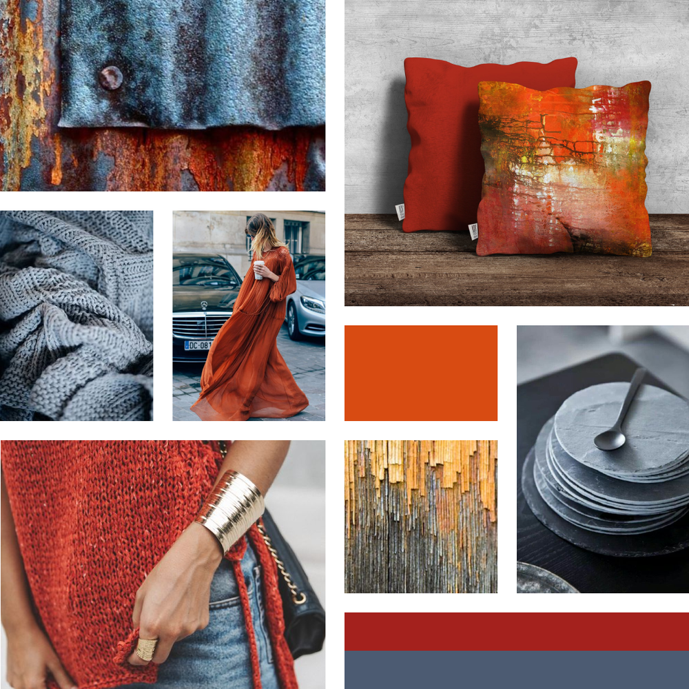 Beautiful Rust Red Orange & Grey Moodboard - Visit www.garlicfriday.com/blog for more design and colour inspiration