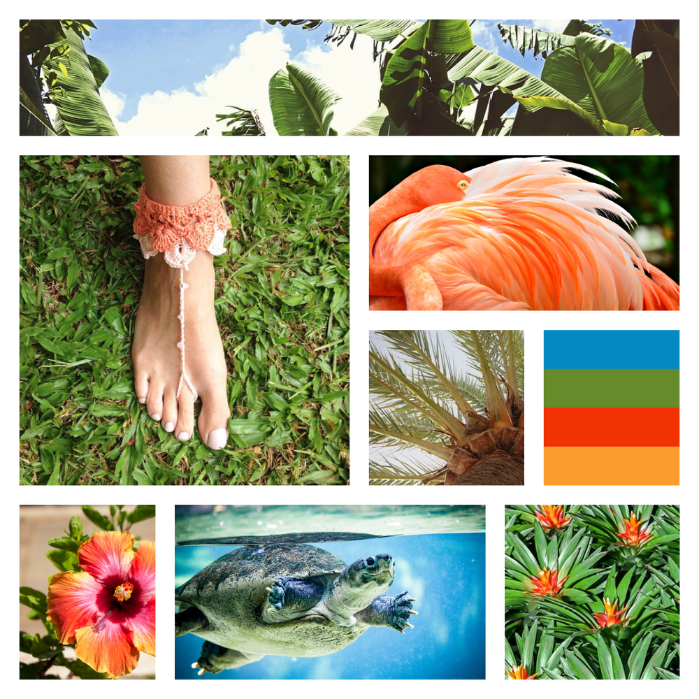 Tropical Moodboard - Jungle theme - Color Inspiration - Colour Palette - Design inspiration and branding by Garlic Friday Design - visit www.garlicfriday.com for more!