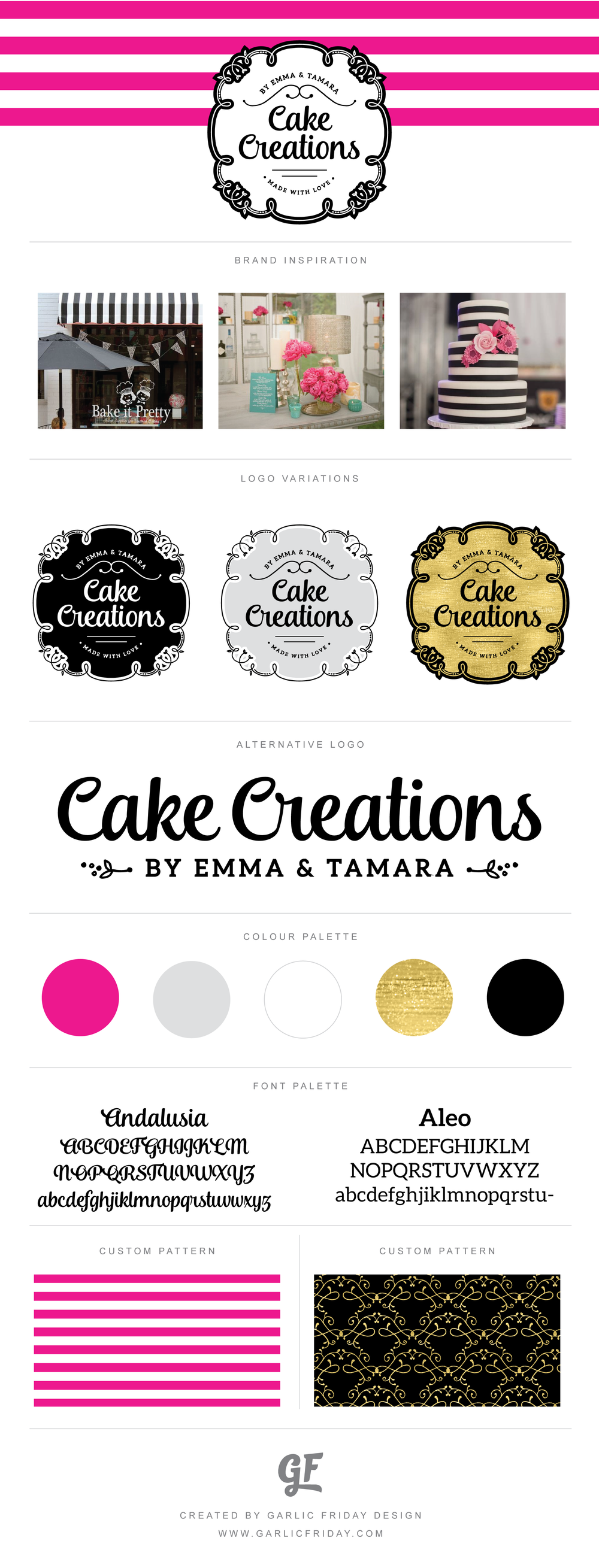 Style Guide - A drool worthy new logo and brand identity for Cake Creations by Emma & Tamara. Visit www.garlicfriday.com for more custom brands by graphic designer Megan Smith