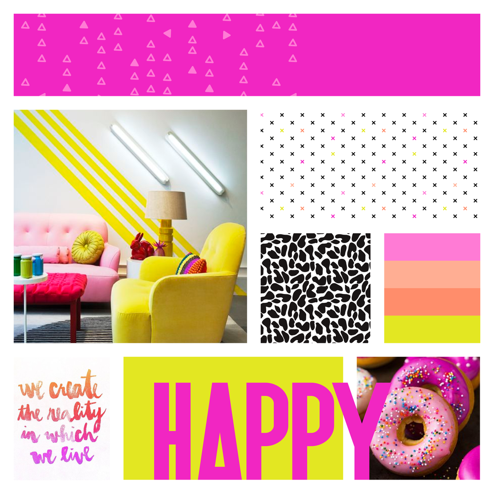 Neon Yellow and Pink Moodboard for AmyTreasure.com . Bright happy and fun theme for UK blogger by garlicfriday.com