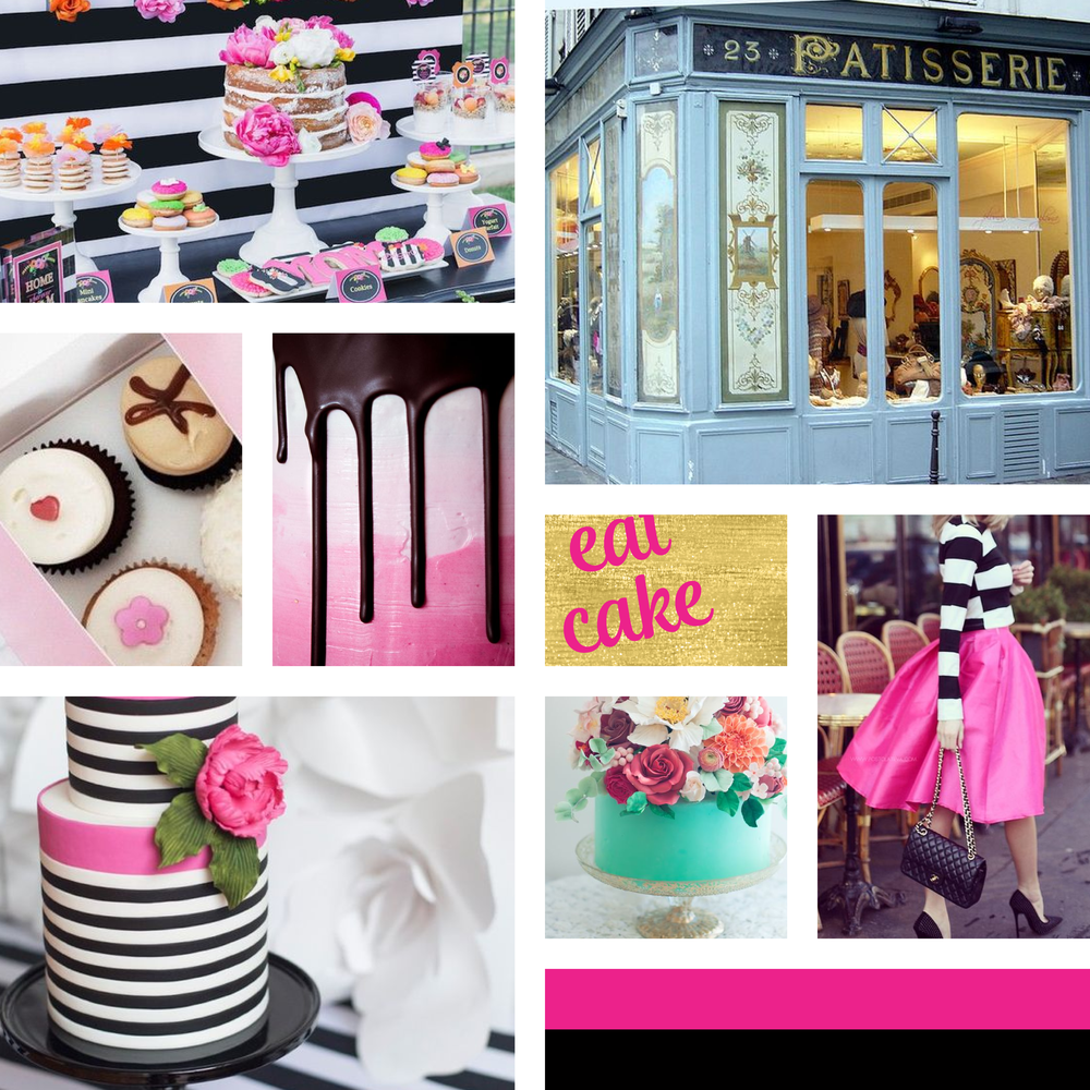 Moodboard for Cake Shop Cake Creations - Logo & Brand Identity by Garlic Friday Design