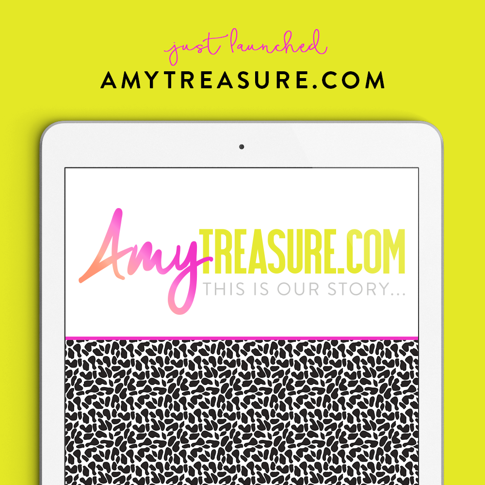 The new AmyTreasure.com Brand - Brand Launch. Logo and brand identity by Garlic Friday Design