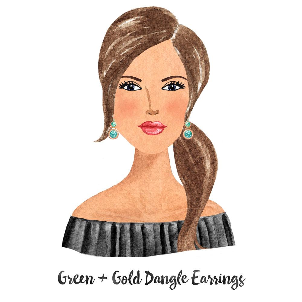 Earrings Gold Green Dangle.jpg