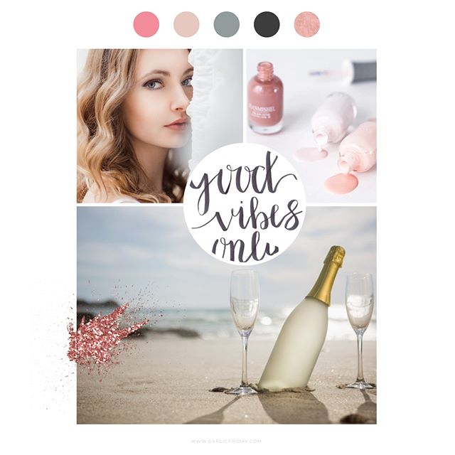 Saturday and I'm finalising a brand for a new nail salon. Here's the beautiful mood board 😍 Can't wait to show you all! It's so pretty!! #moodboard