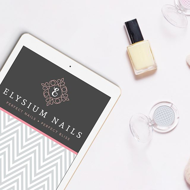 The pretty rose gold and charcoal brand I created for Elysium Nails. Can't wait to see it up on some signage in it's new salon! #gfbrandstyling #modernsalon #seekthesimplicity