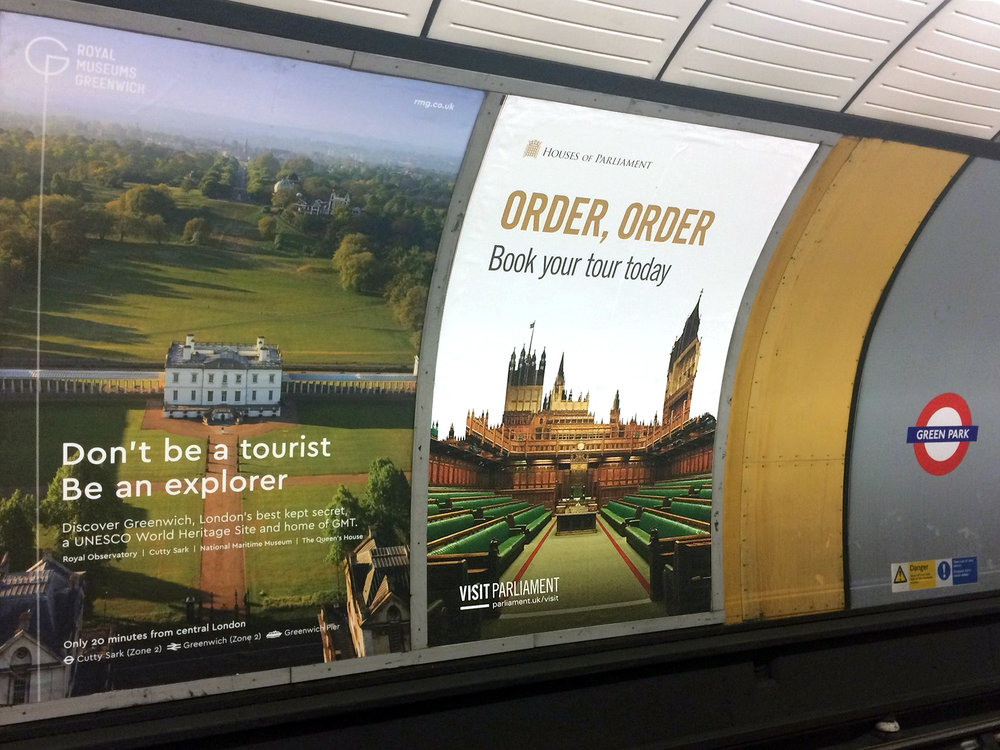 Visit Parliament Underground Poster Campaign at Green Park Station – London, UK