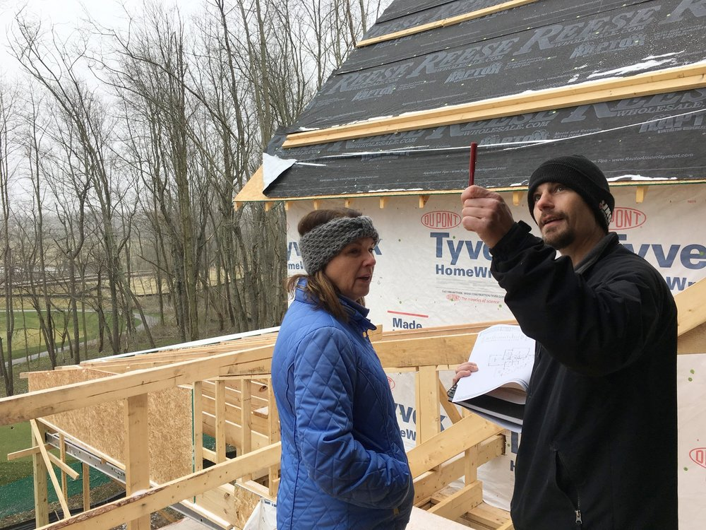 Electrical walk is completed with Maureen and OTDG Construction Manager Ragan during framing.