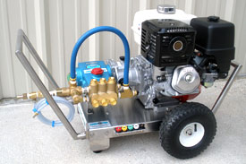 "DELUXE GASOLINE SERIES PRESSURE WASHERS   Gasoline Powered Units from 3.0 to 5.0gpm and 1,000 to 5,000psi.    Cat Pumps  with 2:1 gear reduction or direct drive.   Honda ""GX Series""  engines, recoil start with electric start upgrade.  Heavy-duty stainless steel frame, 12 ga. material, with oil drain port for easy maintenance. Front and rear stainless steel handles, stainless steel axle and pneumatic tires.  Heavy-duty spray gun assembly, featuring a Suttner trigger gun, Model ST-2000, rated to 10gpm @5000psi. 36"" zinc-plated steel lance w/molded grip. Quick disconnects.  50' x 3/8"" high pressure hose assembly. 2-wire steel-braid, 6000psi WP. Quick disconnects.  5 nozzles assortment w/ chemical nozzle. Quick connect style.  Heavy-duty regulator/unloader valve mounted to pressure block.  Down-stream, low pressure chemical injector and thermal relief valve.   OPTIONAL:   Briggs, Kohler and Vanguard engines.  Stationary units.  Custom built units to 5,000psi.  Other pump manufacturers available upon request."
