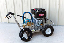 "DIESEL SERIES PRESSURE WASHERS   Diesel Powered Units from 1 to 5gpm and 500 to 3,500psi.     Cat Pumps  with 2:1 gear reduction or direct drive.  Yanmar and Hatz diesel engines, recoil and electric start.  Heavy-duty stainless steel wheel kits, 12 ga. material, front and rear stainless steel handles, stainless steel axle and pneumatic tires.  Heavy-duty spray gu assembly, featuring a Suttner trigger gun, Model ST-2000 rated to 10gpm @5,000psi. 36"" zinc-plated steel lance w/molded grip and quick disconnects.  50' x 3/8"" high pressure hose assembly with quick disconnects.  Heavy-duty regulator/unloader vale and thermal relief valve.  5 nozzle assortment w/chemical nozzle, quick connect style.    OPTIONAL:    Heavy-Duty stainless steel lift-eye.  Manual air shutdown (Yanmar engine only)  Spark arrestor muffler. (Yanmar engine only)  Stationary units.  Custom built units to 10,000psi.  Other pump manufacturers available upon request."