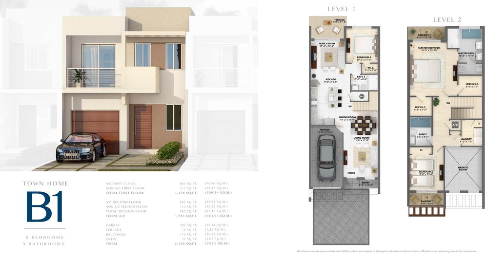 Neovita Doral Town Home B1 Floor Plan