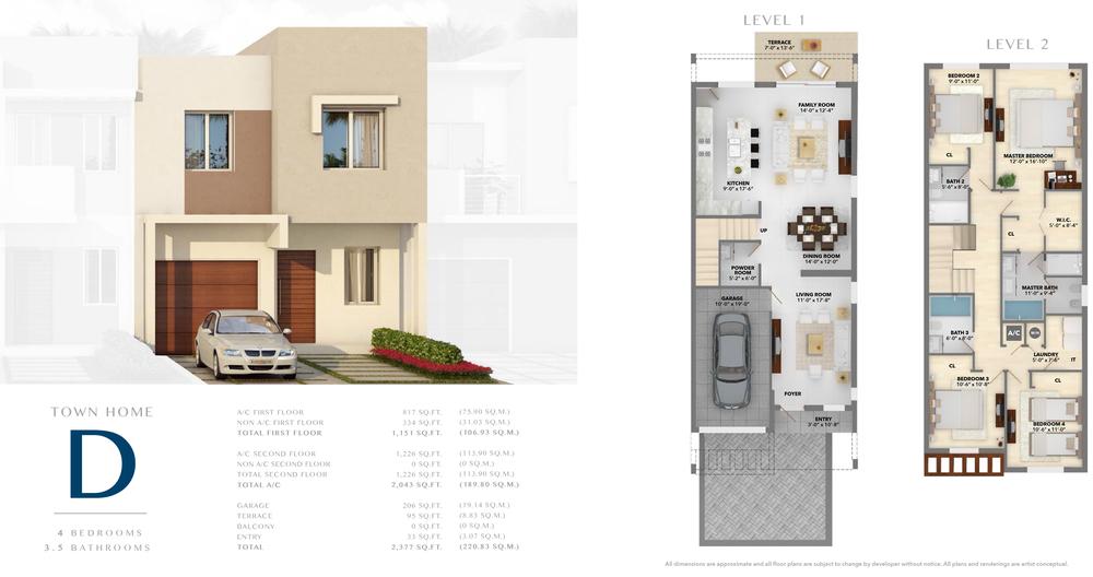 Neovita Doral Town Home D Floor Plan