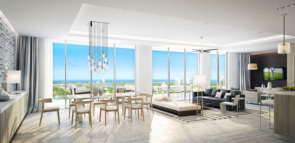 Riva Ft.Lauderdale Condo Great Room Day Time