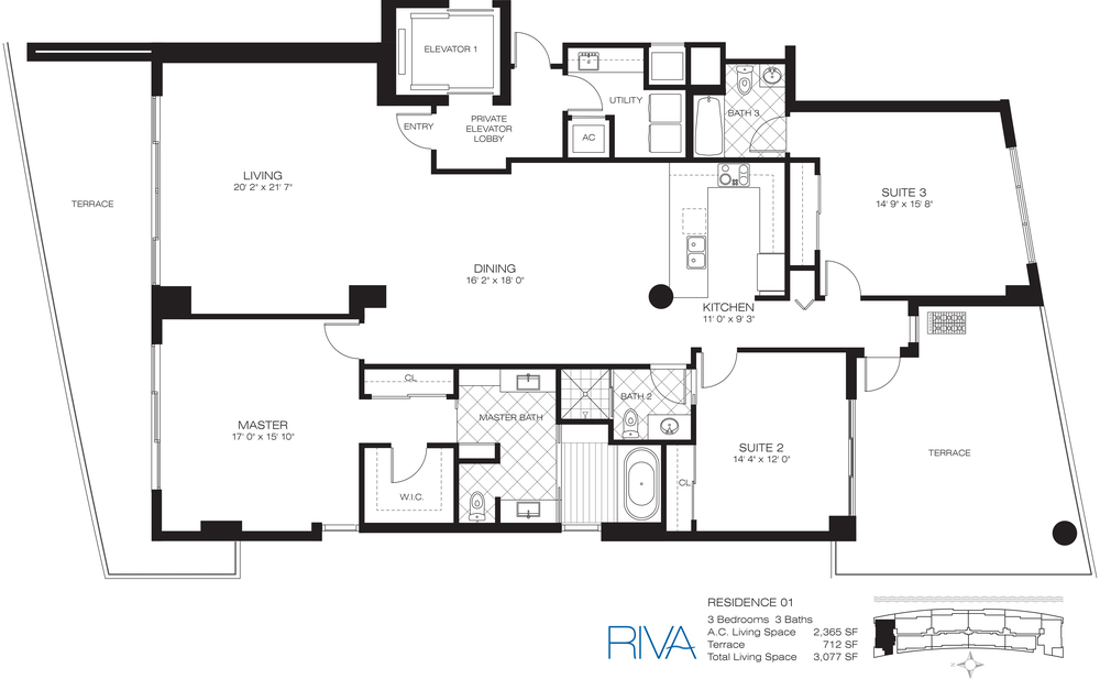 Riva Ft.Lauderdale Condo Residence 1 Floor Plan