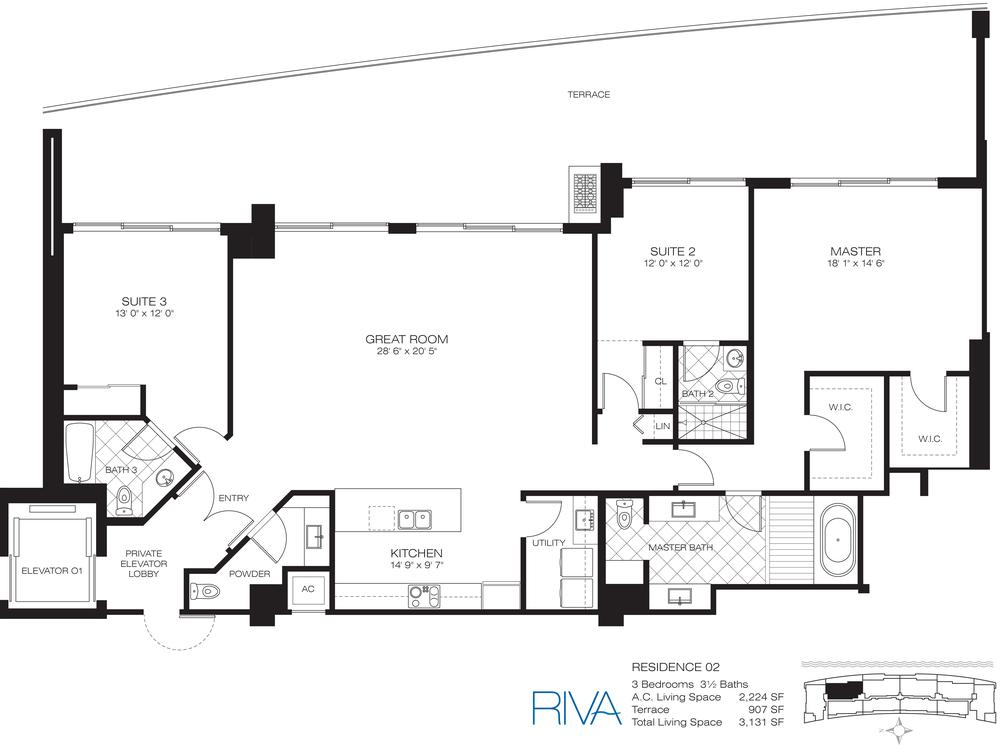 Riva Ft.Lauderdale Condo Residence 2 Floor Plan