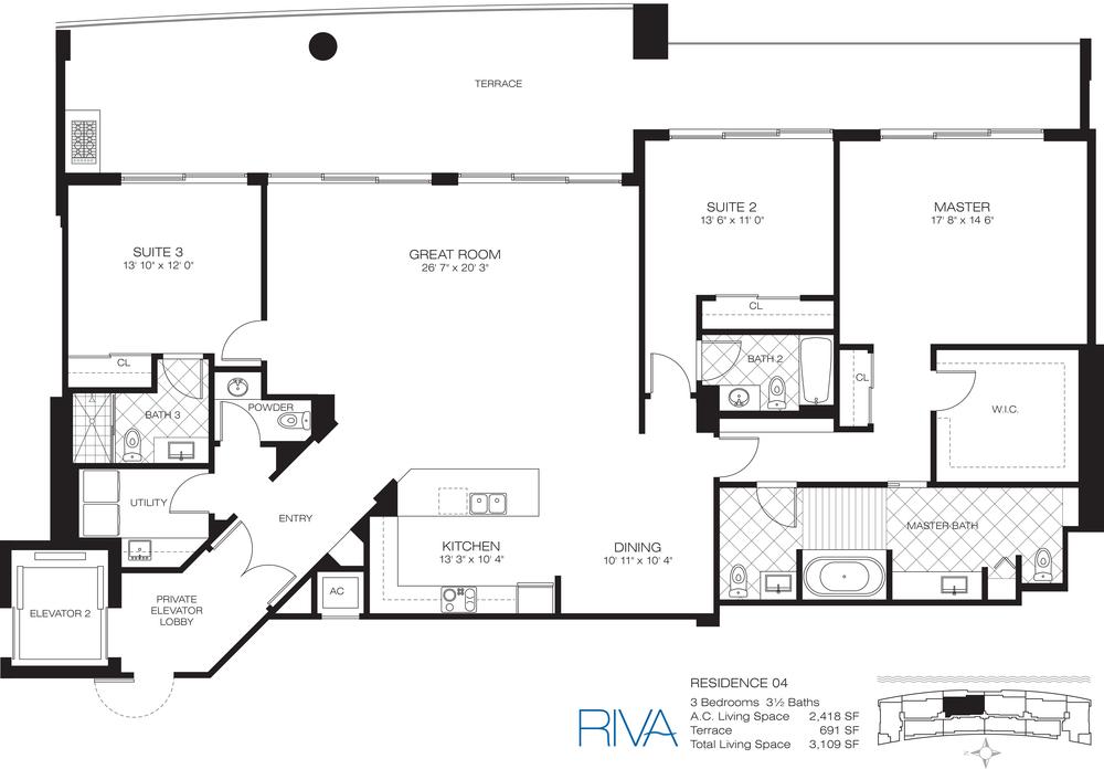 Riva Ft.Lauderdale Condo Residence 4 Floor Plan