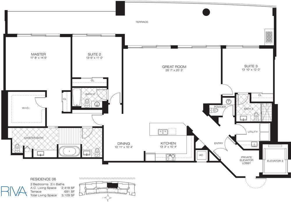 Riva Ft.Lauderdale Condo Residence 6 Floor Plan