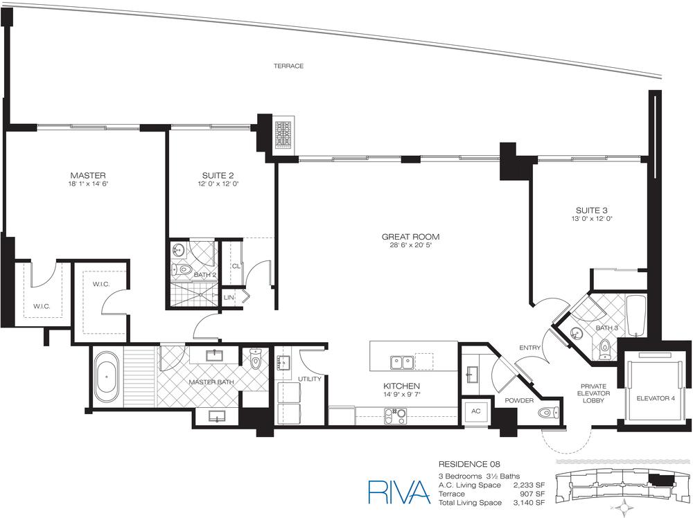 Riva Ft.Lauderdale Condo Residence 8 Floor Plan