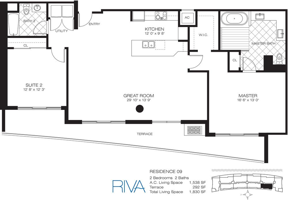 Riva Ft.Lauderdale Condo Residence 9 Floor Plan