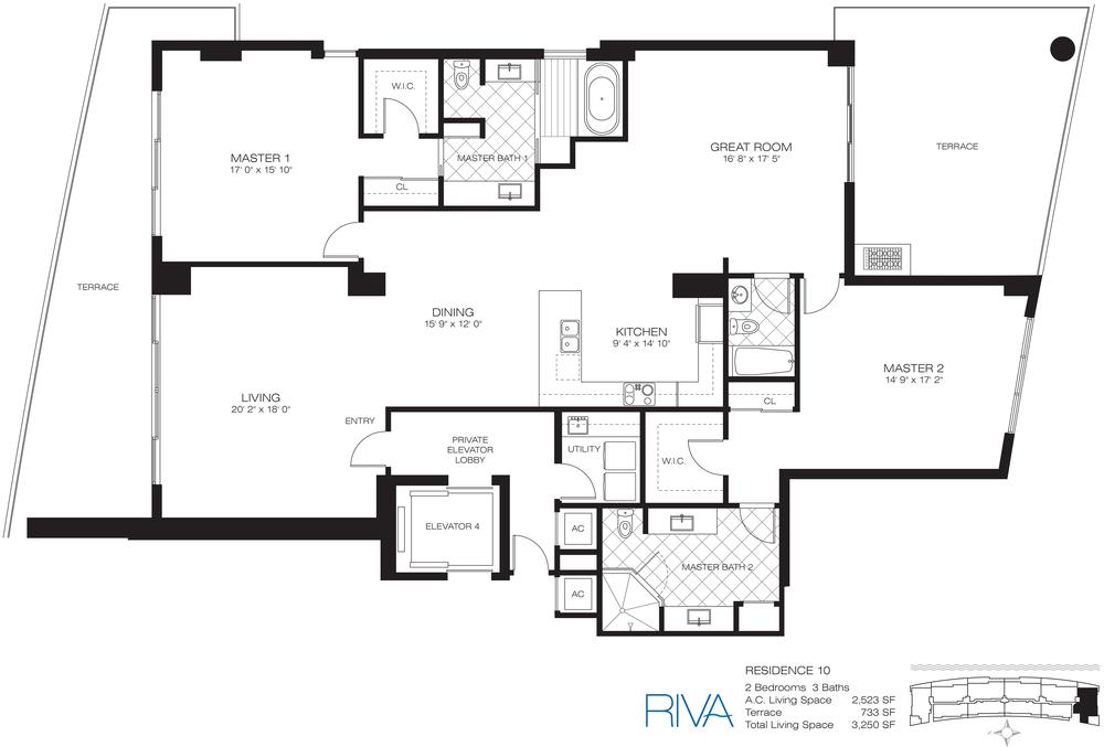 Riva Ft.Lauderdale Condo Residence 10 Floor Plan