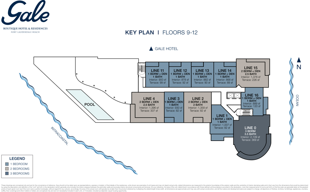 Gale Boutique Hotel & Residences Ft.Lauderdale Floors 9-12 Key Plan