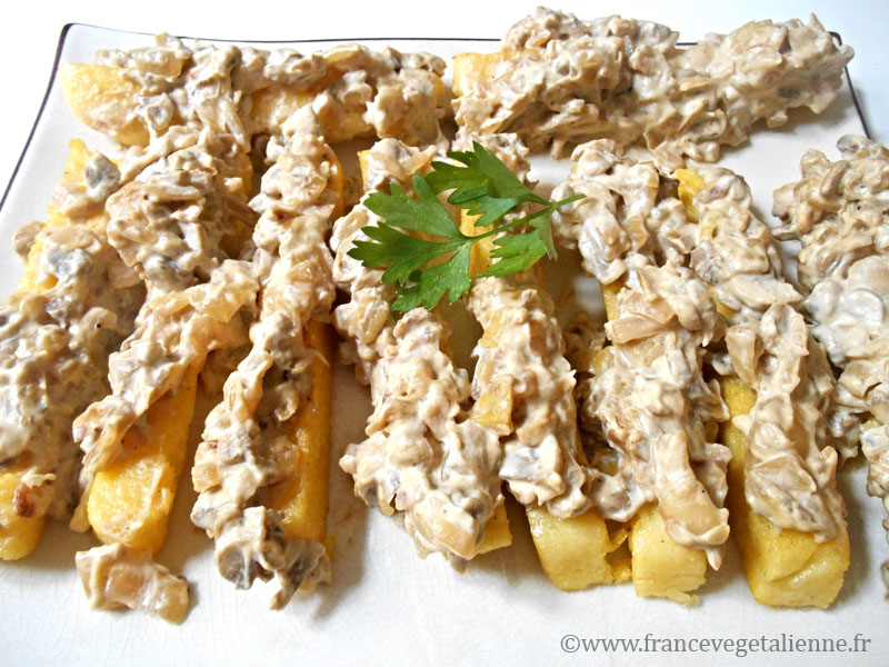 Polenta à la créme de champignons (vegan)