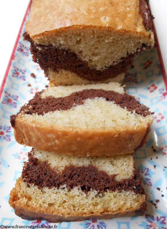 Gâteau marbré au chocolat végane