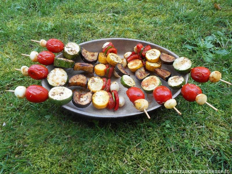 Brochettes de légumes (recette végane)