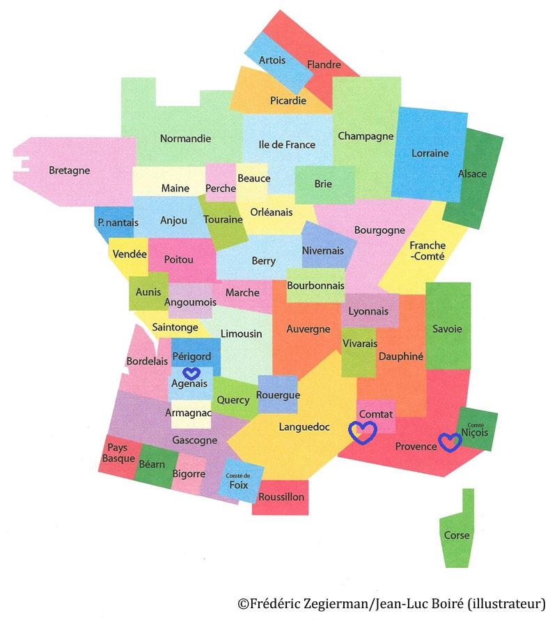 Spécialité de Provence, Comtat, Comté niçois, Languedoc et Agenais