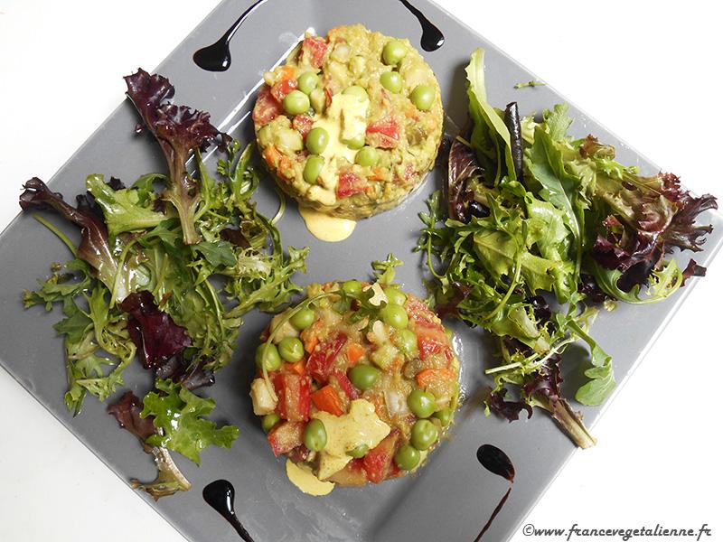 Tartare de légumes sauce avocat (recette végane)