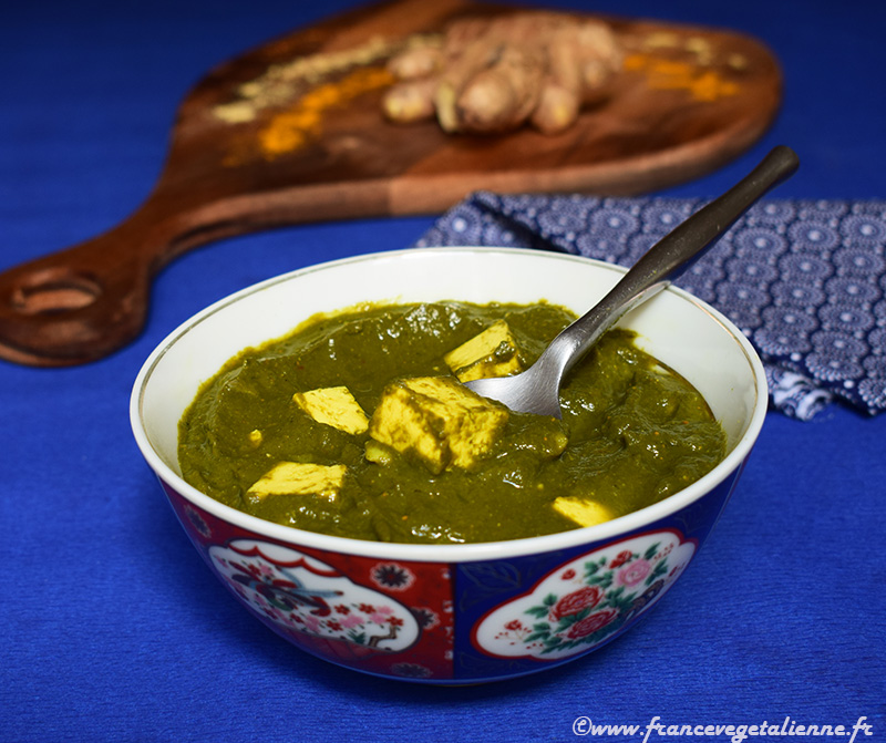 Palak paneer ou tofu paneer (recette végane)