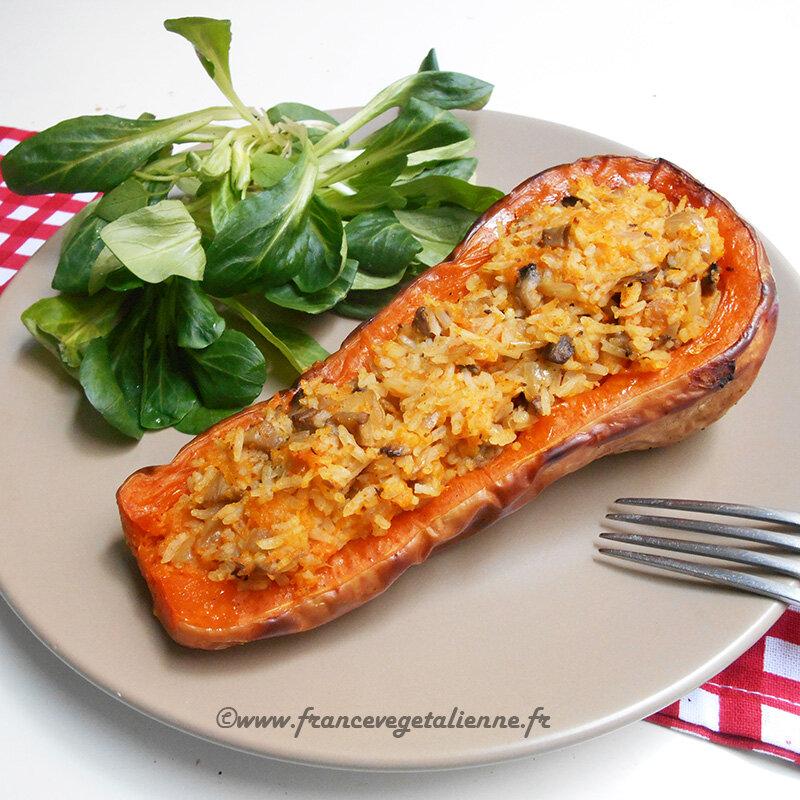 Courges Butternut Farcies Vegetalien Vegan France Vegetalienne