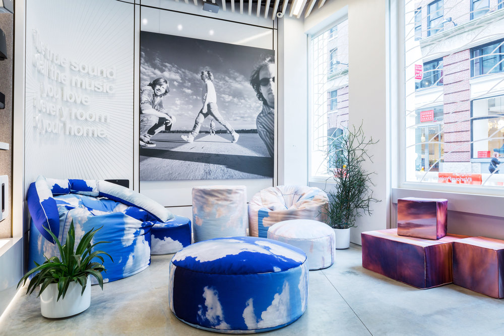 The New York store with Various Projects cloud cushions and Danny Clinch portrait of Phish