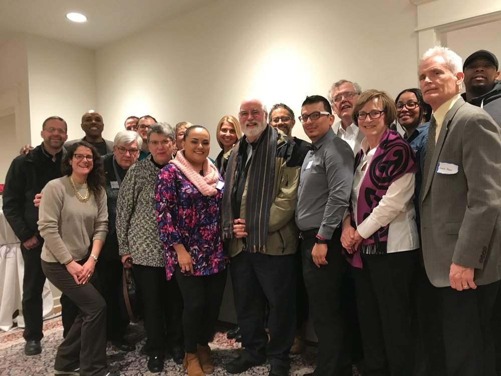 "Fr. Greg Boyle. SSJ gathers with members of Old St. Patrick's Church and North Lawndale residents at the  Old St. Patrick's Church Crossroads Lecture Series  in of April of 2018 where he spoke on ""Compassion."""