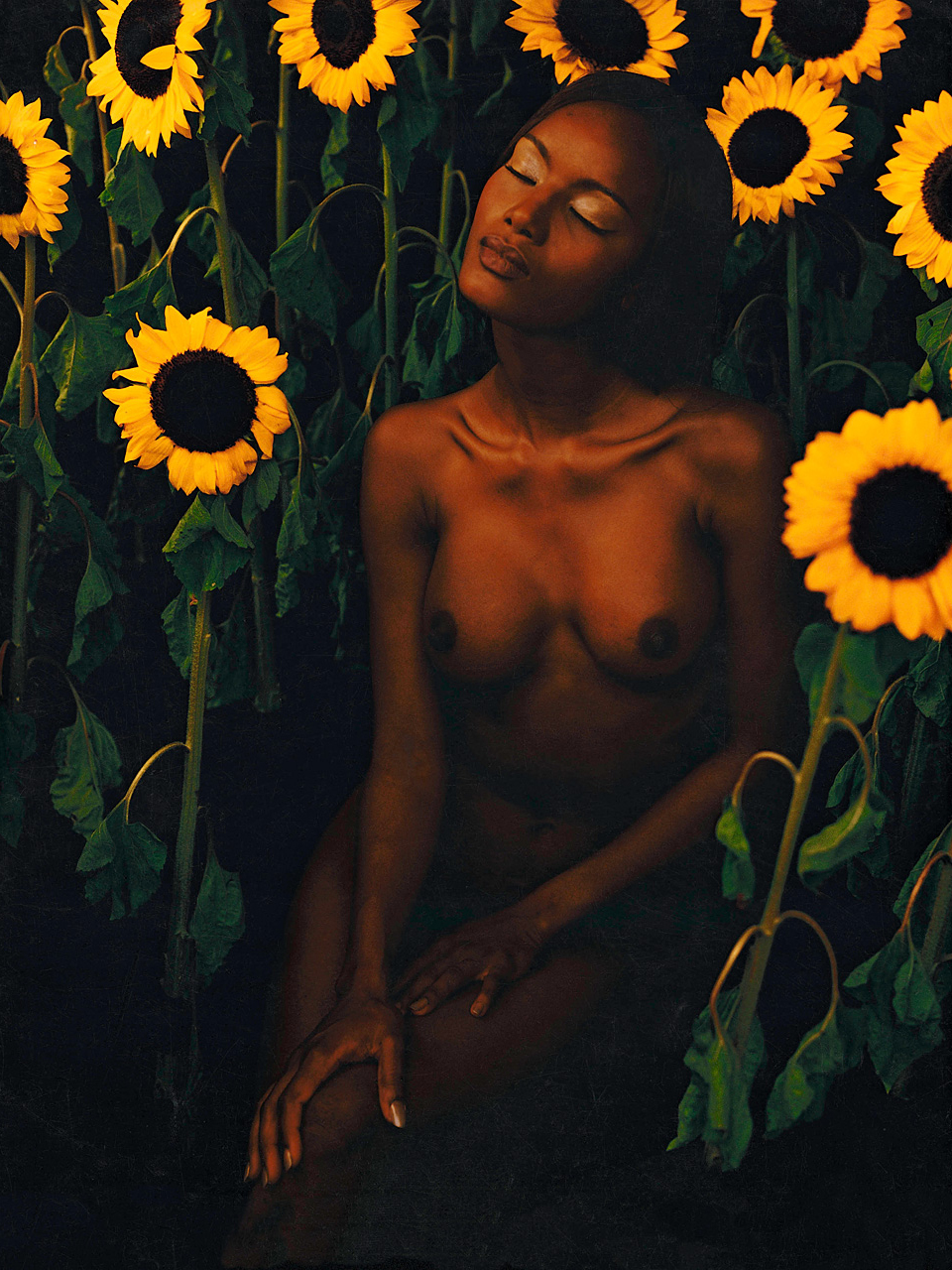 Margaret and Sunflowers (120cm x 160cm)