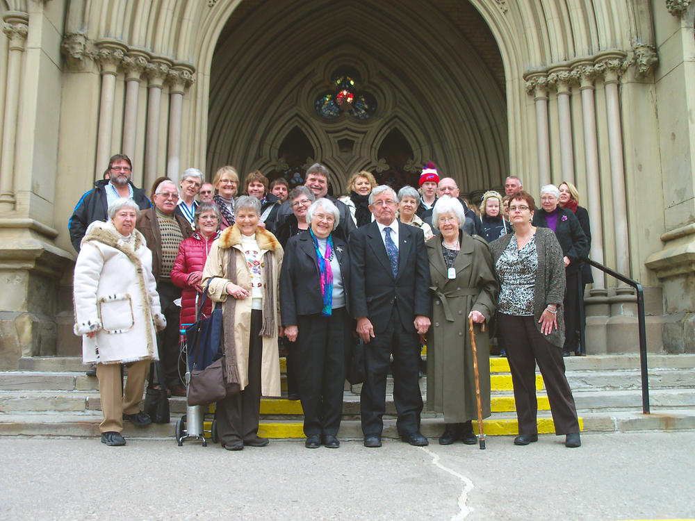 On the cathedral steps: ODT appointees in the front row, third from left to far right: Mrs. Ann Orser, Mr. Don Walker, Mrs. Evelyn Reid, Mrs. Janet Coombs.