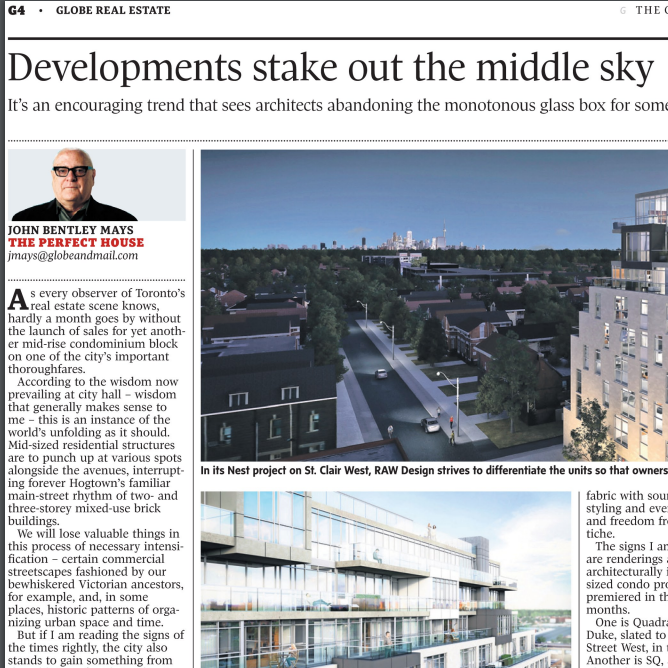 March 21, 2014 - Globe & Mail: Developments stake out the middle sky