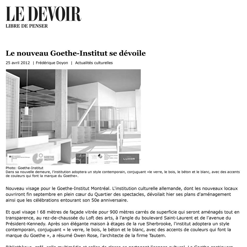 Le Devoir, 25/05/2012