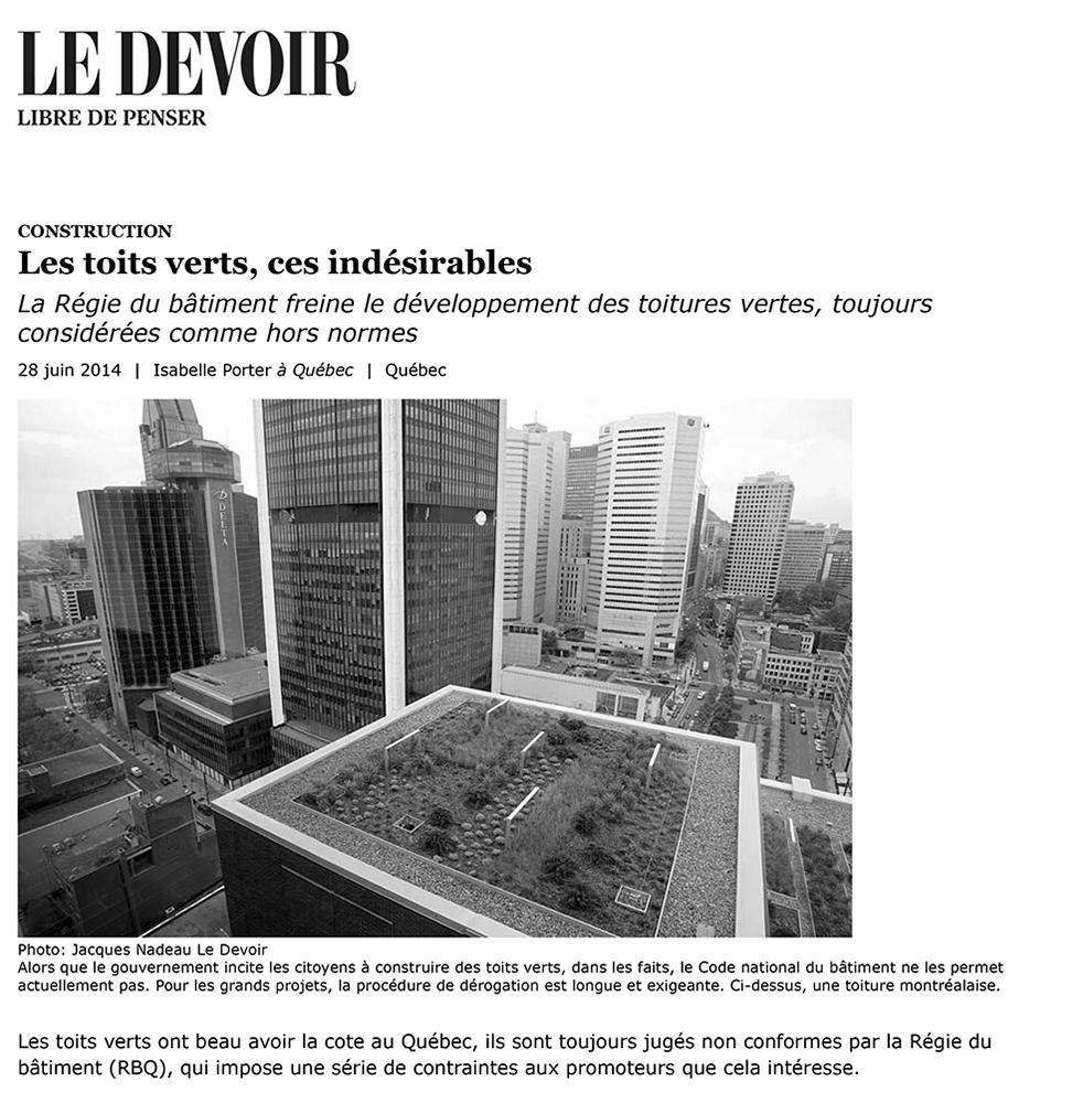 Le Devoir, 28/06/2014