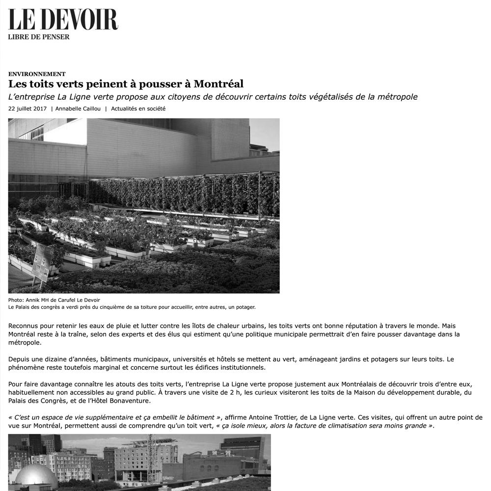 Le Devoir, 22/07/2017