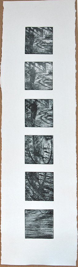 Seconds of The Minute, 2015  This art work has 6 original prints. Technique: photo-etching and drypoint. Paper size: 210 mm x 750 mm.