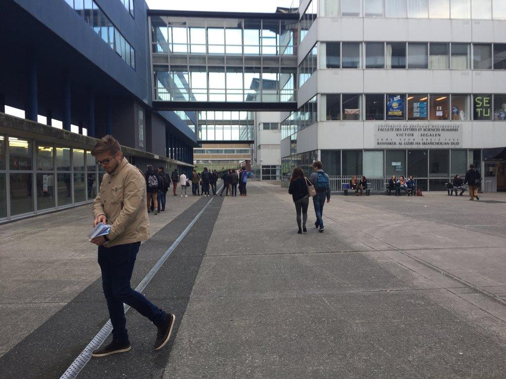 UniversitéBretagne Occidentale, bâtiment Victor Ségalen, Brest, décembre 2016.