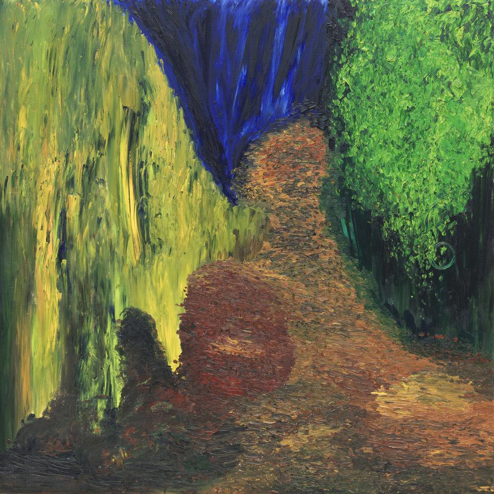 """""""Genèse en tête, Apocalypse en cours"""" extrait, 120cmx120cm, huile sur bois, Renaud Gaultier 1999-2008."""
