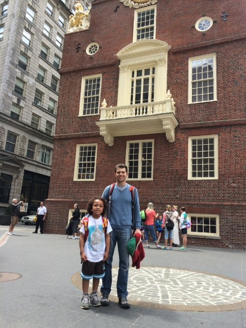 Hunter and I in front of Boston's Old State House