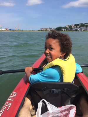 Check out Hunter - first time sea kayaking!